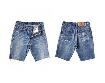 Vintage 70's Levi's Denim Cutoffs - Style 20517-0217 - Levi Orange Tab Distressed Boyfriend Jean Shorts - Long - Waist 27
