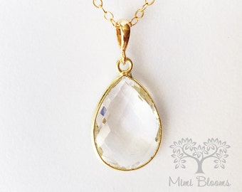 Large Clear Quartz Pendant, April Birthstone Necklace, April Birthday Gift, Crystal Quartz Necklace, Crystal Quartz Birthstone, Gift for Her