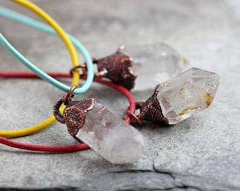 Crystal Necklace Leather Necklace Electroformed Copper Pendant Herkimer Diamond Summertime Bright Colored Layering Necklace