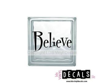 Believe - Christmas Vinyl Lettering for Glass Blocks - Craft Decals