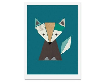 Fox Print (Teals) Woodland Nursery art, Kids art, Scandinavian, Kids room art, kids wall art, nursery decor, nursery print.