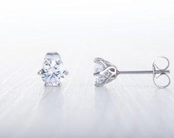 Lab Diamond stud earrings, available in titanium, white gold and surgical steel 4mm, 5mm or 6mm sizes