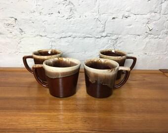 Set of 4 McCoy Drip Glaze Mugs
