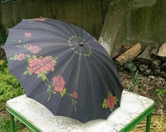 Antique Black Hand Painted Umbrella Red Roses