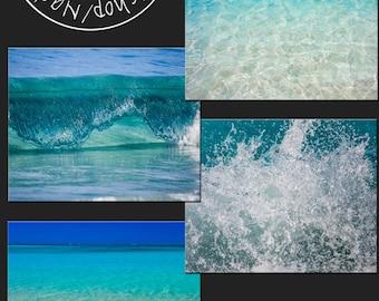 4 picture set of 5x7, Turquoise waters, aquamarine, blue, ocean, beach, waves, photography prints, home decor, fine art, bathroom decor
