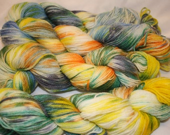 Superwash Hand Dyed Sock Yarn:  Graffiti