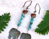 Elephant Earrings with Turquoise Chips, Long Dangle Turquoise Earrings, Handmade Jewelry Gift for Her, Boho, Tribal, Charm Jewelry