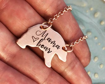 Rustic Copper Mama Bear ~ Necklace ~ Hand Stamped ~ Mommy Jewelry ~ Tribal Gift ~ New Mom ~ Mother's Day Gift ~ Free Spirit ~ Trending