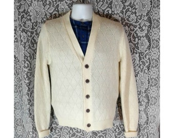 Vintage Grandpa Sweater, Mens Cardigan Sweater, Menswear Slouchy Cardigan, Cream Sweater, Hipster Clothing, Winter Fashion, Mens Size Medium