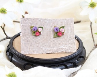 Pink and Purple Rose Bouquet Stud Earrings, flower stud earrings, rose stud earrings, pink stud earrings