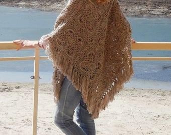knitting kerchief -boho crochet shawl - crochet shawl - handmade - triangular shawl - warp - baktus crochet