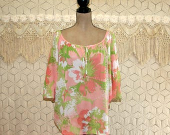 Sheer Blouse Chiffon Top Batwing Bohemian Hippie Floral Shirt Pink & Green Spring Tops Summer Tops 1X XL Plus Size Clothing Womens Clothing