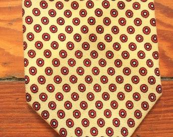 Vintage 70s Bloomingdale's Yellow Red Polka Dot Wool Tie