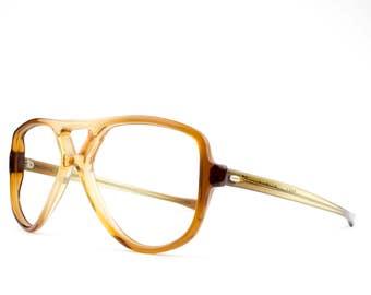 Vintage 70s Aviator Eyeglasses | Clear Brown Eyeglass Frame | NOS 1970s Glasses | Victory Eyeglasses | Vintage Deadstock - Sunlimer