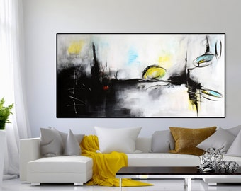 """Large Abstract black and white  painting, ORIGINAL 60""""Abstract Painting Minimalist Art,  Original Painting on Canvas black white grey"""