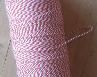 Bakers twine, 10 meters, red and white, cotton, twine, rope, drawstring, string
