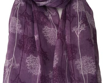 Tree Print Scarf, Purple Scarf with White and Dark Purple Trees, Ladies Floral Wrap Shawl