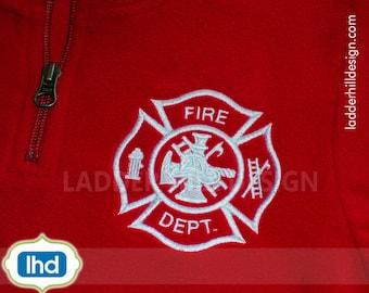 Fire Dept Maltese Cross Embroidery Design -- Fire Department Maltese Cross -- Maltese Cross Embroidery Design FD012
