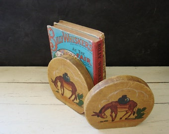 Vintage Wood Bookends Book Ends Hand Painted Burro Donkey Marigold Los Angeles California