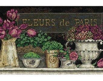 """Dimensions FLEURS DE PARIS 14"""" x 8"""" counted cross stitch kit"""