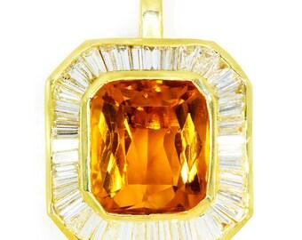 15.00ctw Huge Citrine & Baguette Diamond Ballerina Pendant 18K Yellow Gold