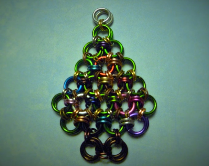 Christmas Tree Chainmail Christmas Ornament Multi Color Aluminum Holiday Seasonals