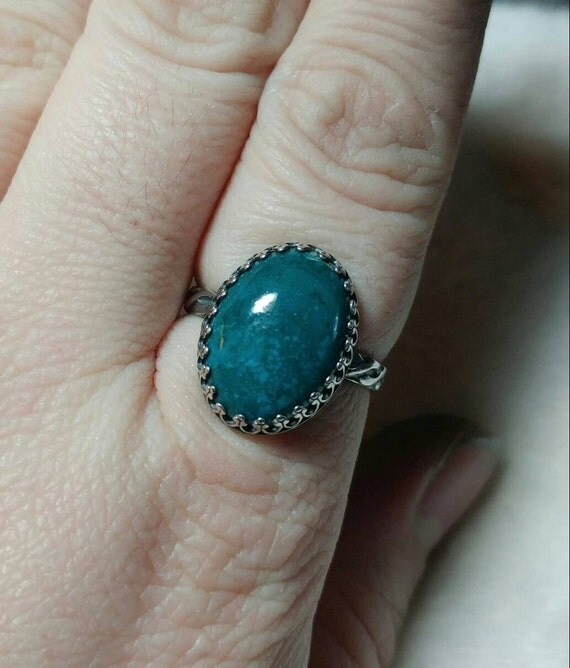 Victorian Blue Stone Ring   Chrysocolla Ring   Sterling Silver Ring Sz 10   Blue Green Gemstone Ring   Ocean Blue Statement Ring