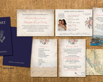Passport Wedding Invitation Booklets Real Style Paradise Adventure