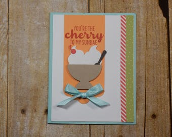 Happy Birthday / Handmade / Blank Inside Greeting Card / Stamped Greeting Card / Just Because Greeting Cards / Ice Cream Birthday Card