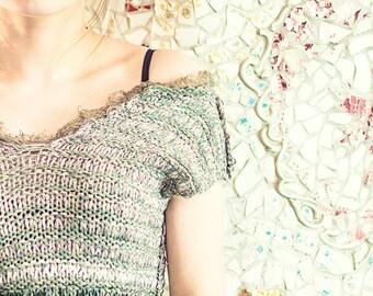 bohemian top - knit top - womens top - summer top - boho top  - crochet for sale