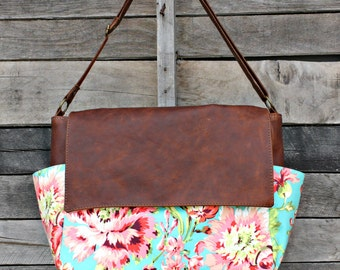 Floral Bliss Bouquet, Messenger Bag, Genuine Leather, Laptop Bag, Diaper Bag, Everyday Bag