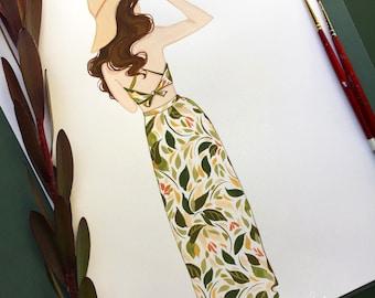Sun Dress Fashion Illustration, Backless summer sundress art print, fashion sketch
