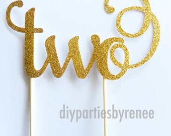 Two Cake Topper - Assorted Colours - 2nd Birthday Cake Topper - Second Birthday Cake Topper - Happy Birthday - Celebration