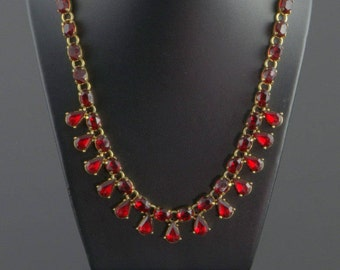 Red Crystal Necklace Signed Vintage Rhinestone Avon Necklace