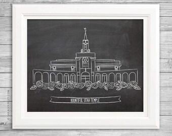 Bountiful Utah Temple Chalk Art Print, LDS Temple, LDS Art, Wall Decor, Illustration, Chalkboard