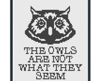 TWIN PEAKS The Owls Are Not What They Seem Digital Cross Stitch Pattern