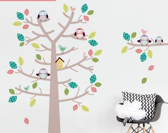 NEW• Woodland Tree And Owls On Tree Branch Wall Sticker - Children Wall Decal - Colourful Nursery Sticker - Removable Printed Wall Vinyl