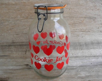 Vintage Carlton Glass 3L Cookie Jar with Red Hearts / Valentine Cookie Jar / Retro Red Heart Cookie Jar