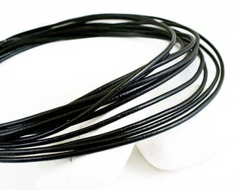 3mm Leather Cord, Black Greek Leather Cord, Necklace Cord, Jewelry Supplies, 1 meter