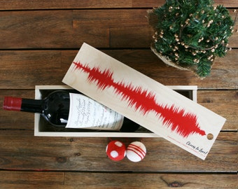 Wood Wine Box Christmas Gifts for Wine Lover Gift, Hostess Gift, Custom Song or Voice Sound Wave Art, 5th Anniversary Gift, Congratulations