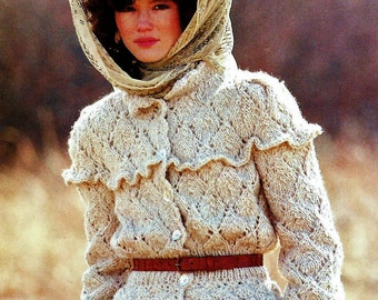 Diamonds and Lace Cardigan Vintage Knitting and Crochet Pattern Download