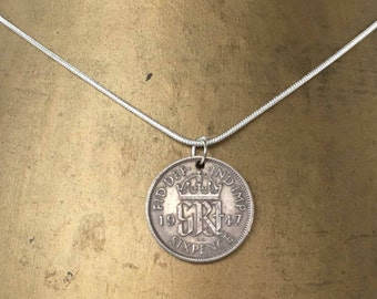 70th birthday gift, 1947 sixpence necklace, lucky coin pendant, English, British, woman, anniversary, retirement, present, silver, mum, aunt