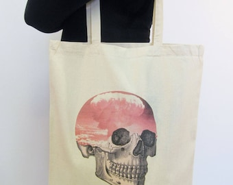 Pastel Goth Tote Bag Skull Atomic Cloud Surreal Art Canvas Tote