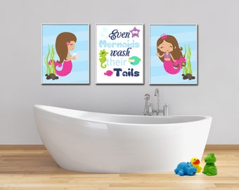 Mermaid Bathroom Decor Prints, Bathroom Wall Art, With quote Even Mermaids Wash Their Tails, Girls Bathroom Decor - H313
