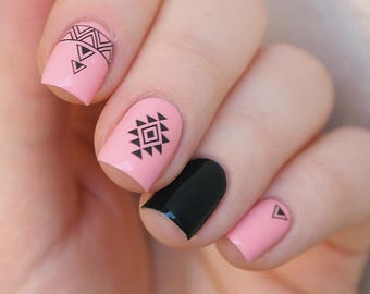 Set of 2 pcs of tribal nal decals/ Aztec nail stickers/ Black tribal decals/ Native pattern nail decals/ Tribal nail art/ Nails