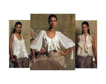 Vogue American Designer Oscar de la Renta Women's Blouses Sewing Pattern Misses Size 14-16-18-20 Uncut Vogue V2946