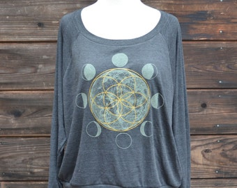 Seed of Life Moon Phase Raglan Pullover - Sacred Geometry Sweater - MoonPhase Sweater - Women's Sweater