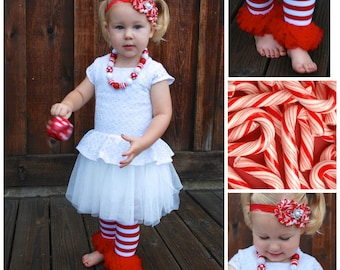 Christmas leg warmers, Christmas baby outfit,  Candy Cane, Baby leg warmers, hair bows, hard headband, red and white, ruffle