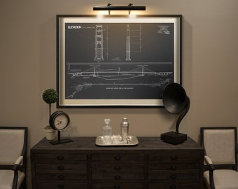 Brooklyn bridge blueprint vintage new york brooklyn bridge golden gate bridge blueprint vintage san francisco golden gate bridge blueprint drawing art print poster malvernweather Image collections