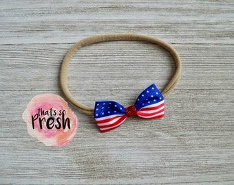 Baby Nylon Headband, 4th of July headband, Independence Day headband, Patriotic headband, Red White and Blue Headband, American headband